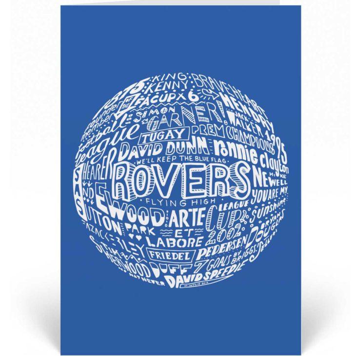 Blackburn Rovers Birthday Card featuring hand-drawn typography design inspired by Blackburn Rovers football club