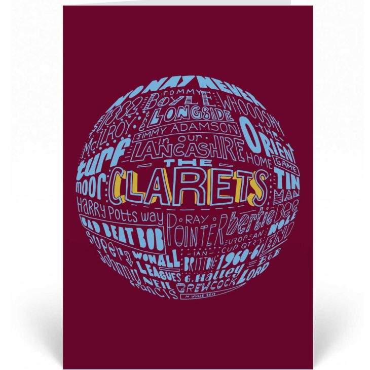 Burnley Birthday Card featuring a hand-drawn typography design inspired by the history of Burnley Football Club