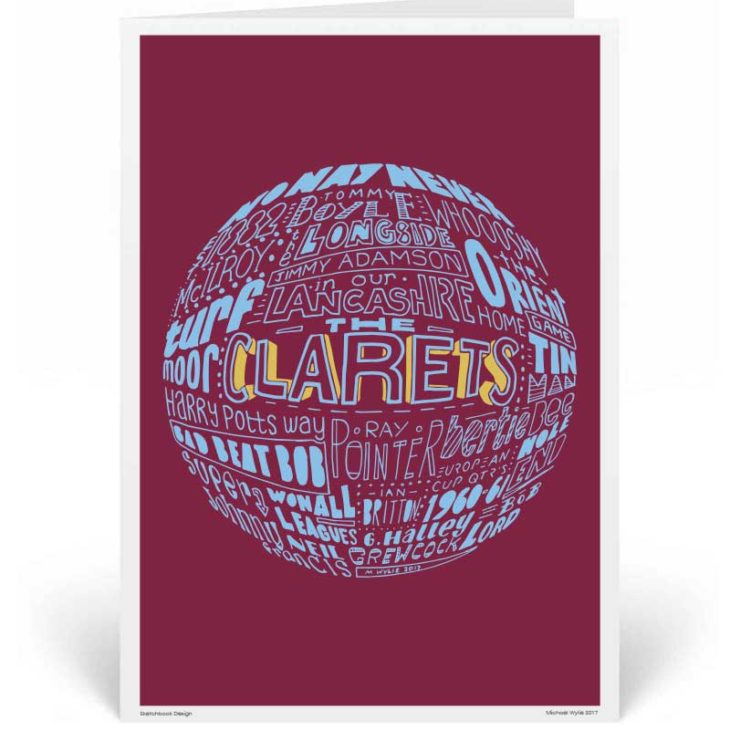 Burnley Birthday Card by Sketchbook Design. Part of our football greeting cards range