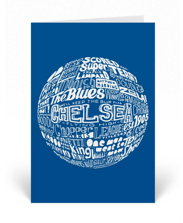 Chelsea Birthday Card featuring a hand-draw typography design inspired by Chelsea Football Club