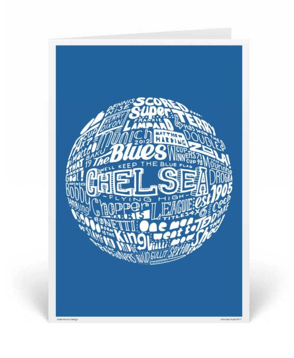 Chelsea Birthday Card by Sketchbook Design. Part of our football greeting cards range