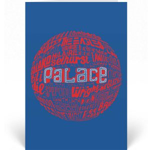 Crystal Palace birthday card featuring a hand-drawn typography design inspired by the history of Crystal Palace Football Club