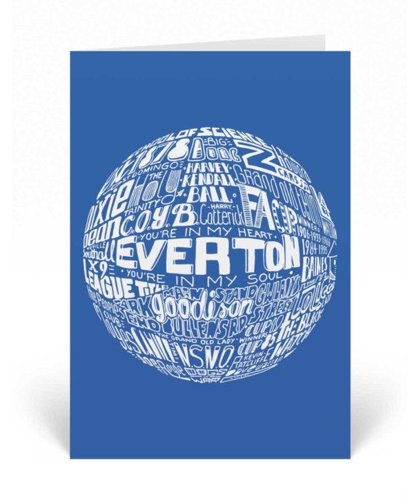 Everton Birthday card featuring a hand-drawn typography design inspired by the history of Everton football club