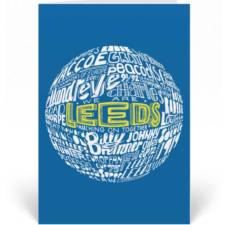 Leeds United birthday card featuring a hand-drawn typography design inspired by the history of the football club.