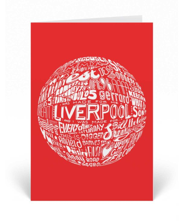 Liverpool birthday card featuring a hand-drawn typography illustration inspired by the history of Liverpool Football Club