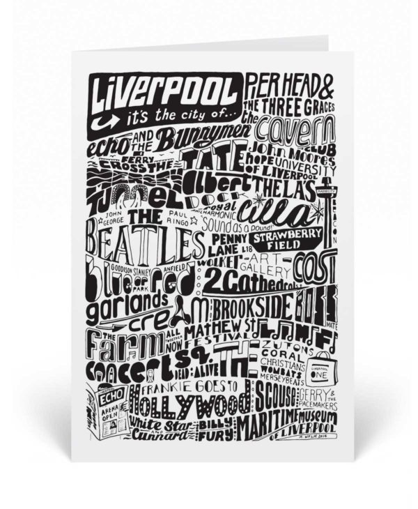 This Liverpool greetings card features all of the great music, places and people that come from Liverpool.