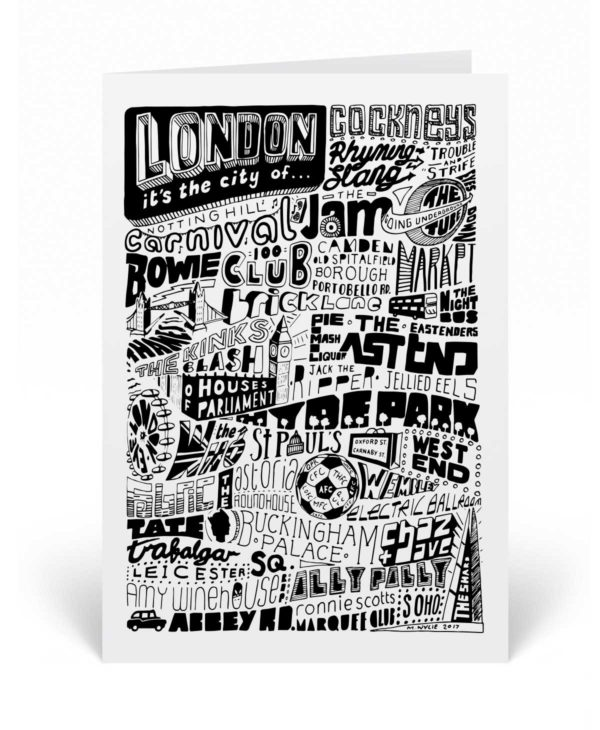 This London greetings card features the great and good to have made our capital city famous.