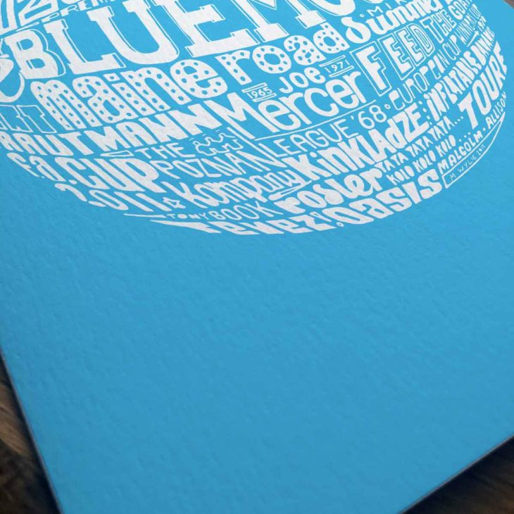 Manchester City birthday card featuring a hand-drawn typography design inspired by the history of Manchester City Football Club