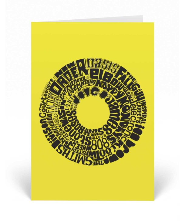 This Manchester Music greetings card features great musicians and bands that have come out of Manchester and Greater Manchester.
