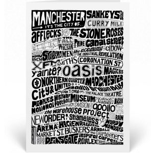 Manchester Greetings card with a hand-drawn typography design illustrating the bands, people and places that come from Manchester