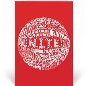Manchester United birthday card featuring a hand-drawn design inspired by the illustrious history of Manchester United