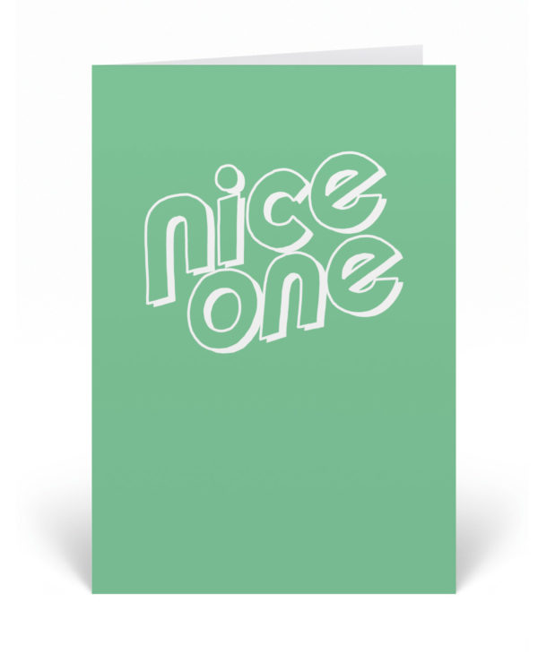 Nice One card featuring a minimalist hand-drawn typography design.