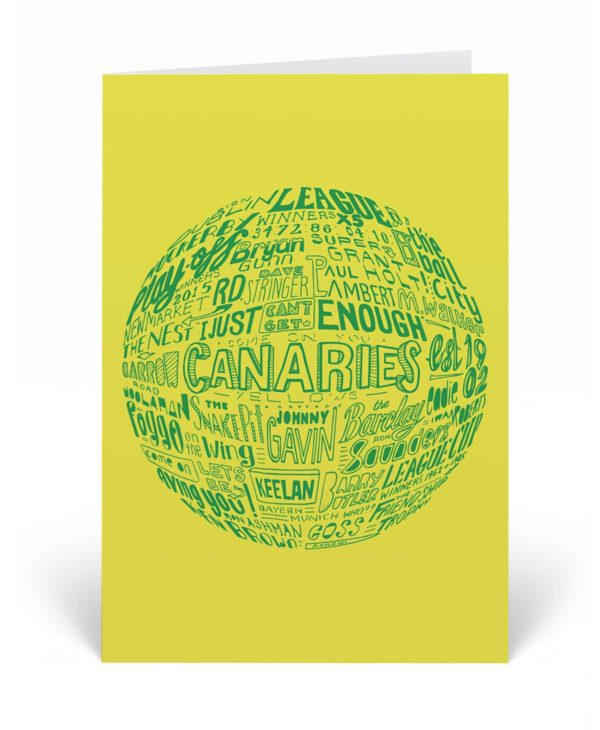 Norwich City Birthday Card features a hand-drawn typography design that is inspired by the history of Norwich City
