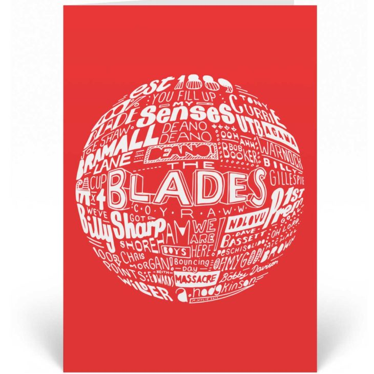 Sheffield United birthday card that features a hand-drawn typography design inspired by the history of Sheffield United