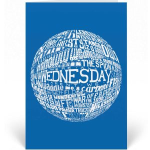 Sheffield Wednesday birthday card featuring a hand-drawn typography design that depicts the history of Sheffield Wednesday