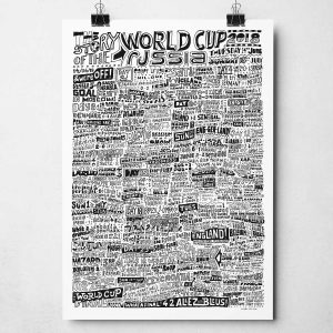 Football World Cup 2018 Print. An enthralling typography illustration that captures the highlights of the football World Cup 2018 in Russia