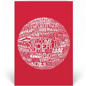 Sunderland Birthday Card featuring a hand-drawn typography design that depicts the history of Sunderland AFC