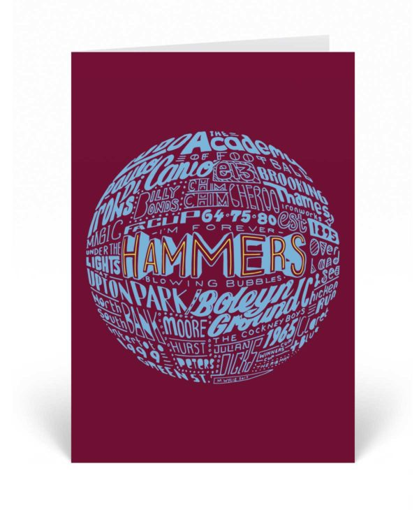 This West Ham United birthday card features a hand-drawn design that illustrates the history of the Hammers. The card would make the ideal birthday card for any West Ham fan.