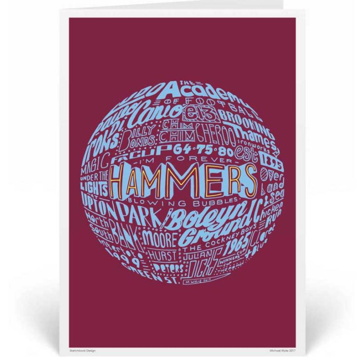 West Ham United Birthday Card by Sketchbook Design. Part of our football greeting cards range