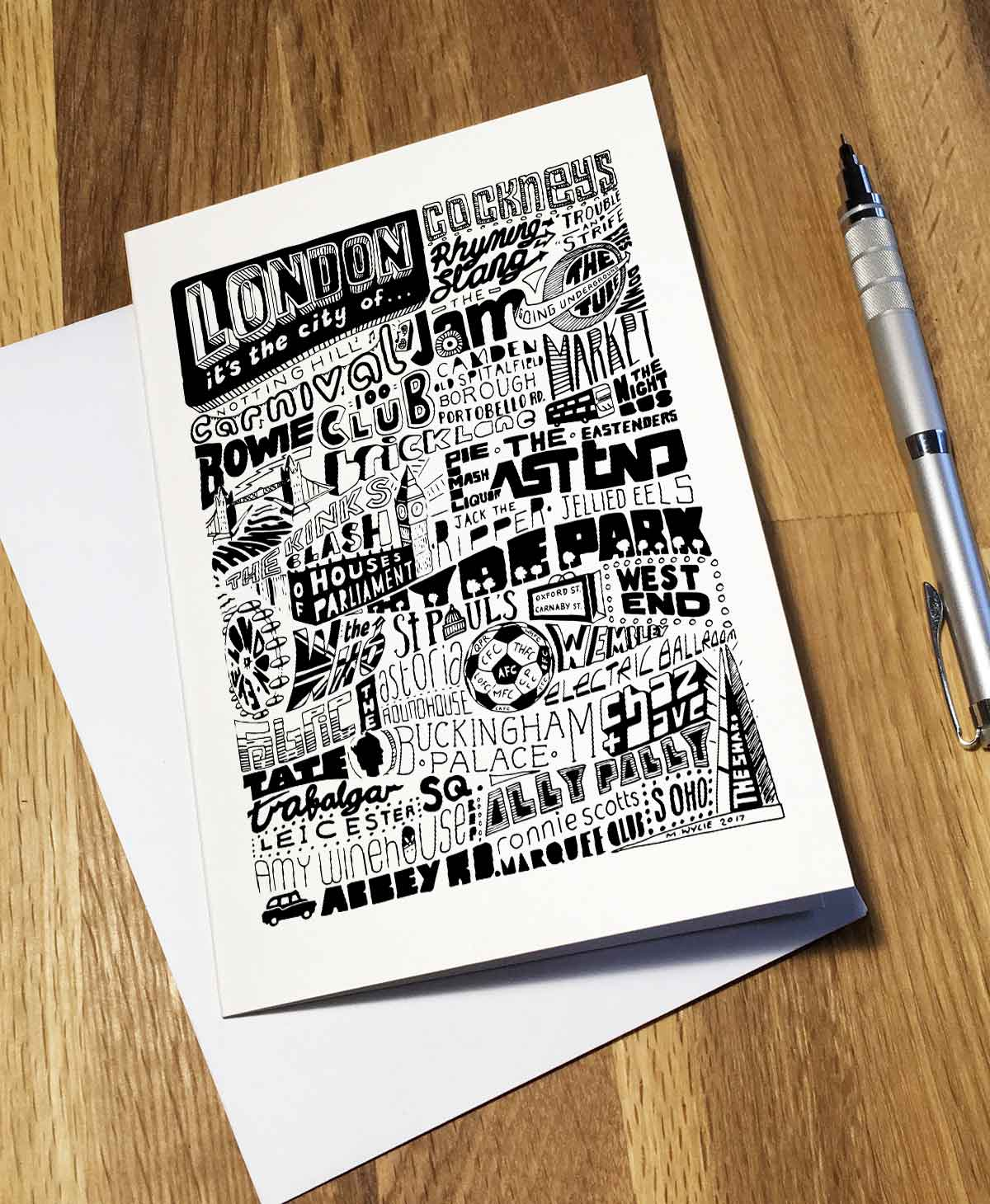 London artwork typography design. City birthday card from Sketchbook Design