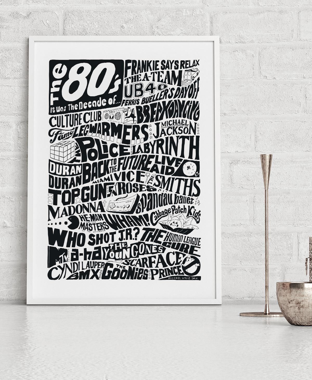 Hand-drawn 1980s Pop Culture prints by Sketchbook Design. One of the range of decade prints, also available as decades birthday card.