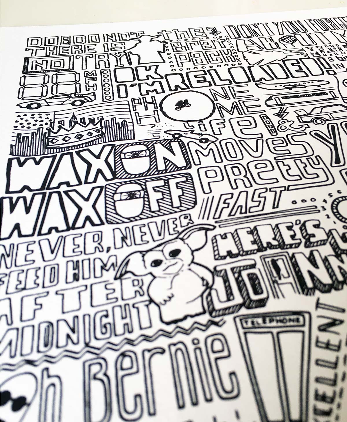 1980s Classic film print. Hand drawn pop culture prints from Sketchbook Design