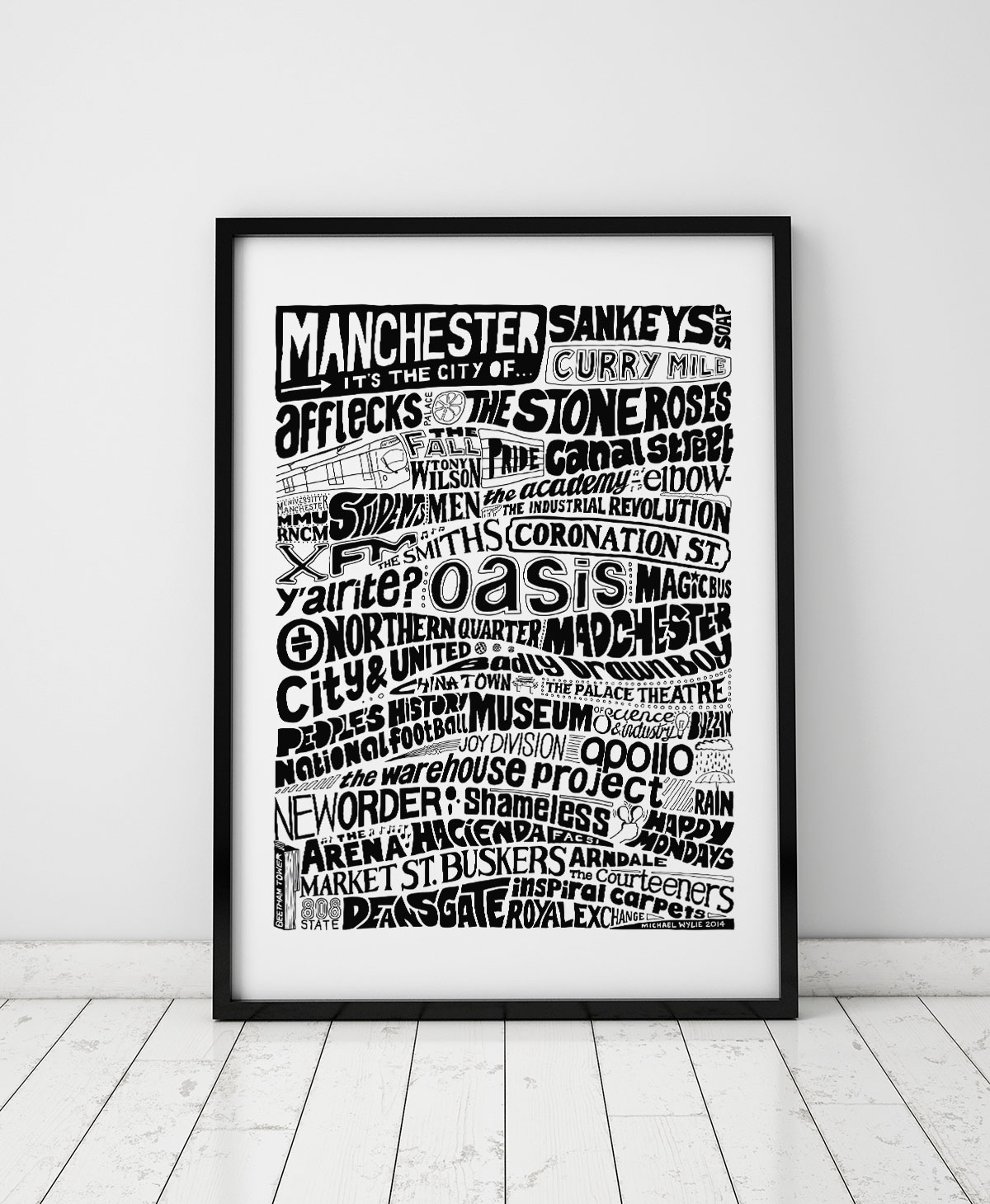 Manchester cities artwork print from Sketchbook Design. Part of the City Prints and Architecture Print range. Hand-drawn city typography prints