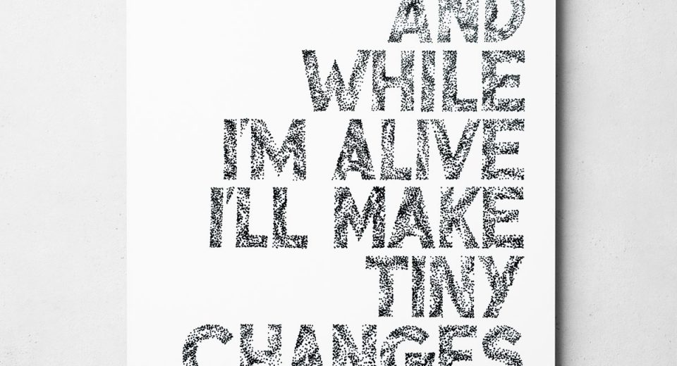 Hand drawn typography song lyric print. Frightened Rabbit print featuring a lyric from Heads Roll Off.