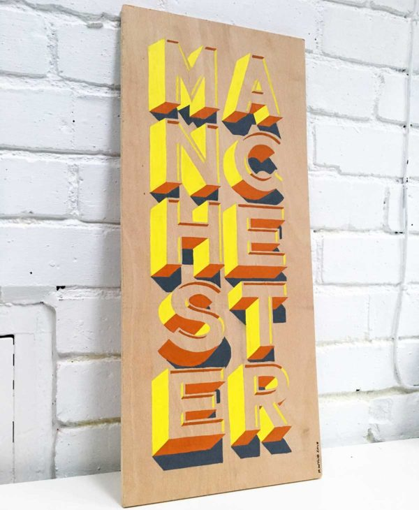 Hand painted Manchester sign from Sketchbook Design