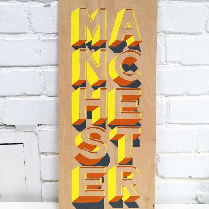 Hand-painted Manchester sign from Sketchbook Design