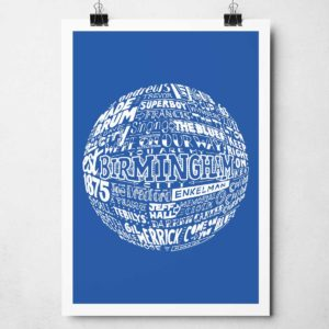 Birmingham City football print Hand-drawn typography artwork from Sketchbook Design