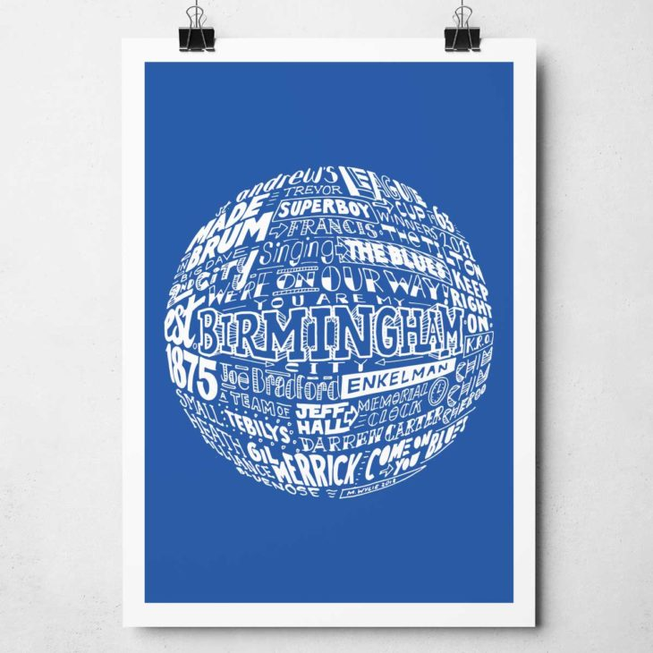 Birmingham City football print Hand-drawn typography artwork from Sketchbook Design