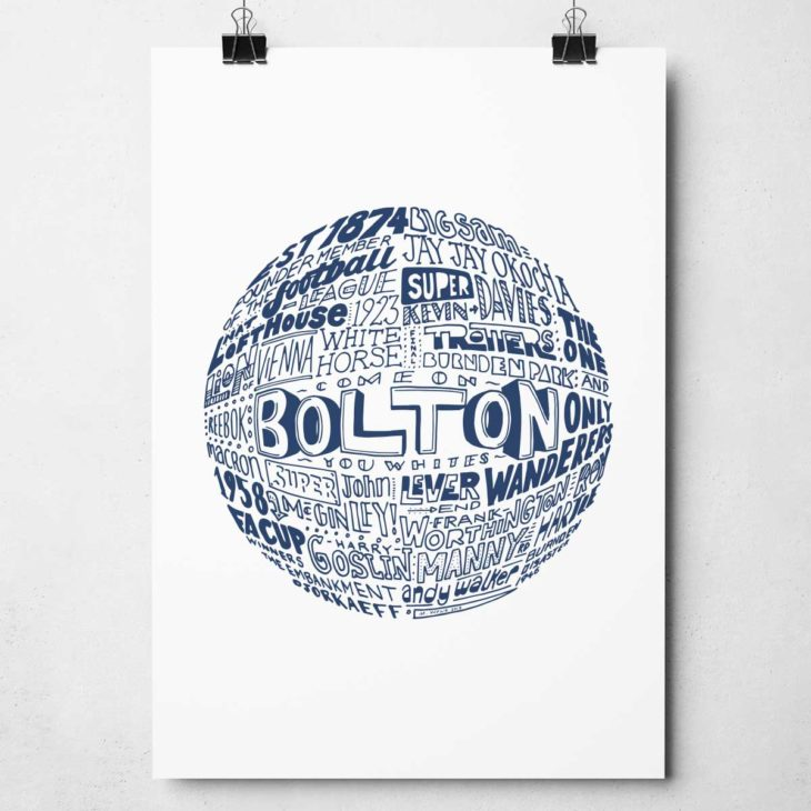 Hand drawn Bolton Wanderers Football Print. Typography artwork from Sketchbook Design