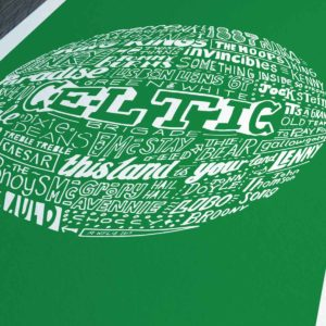 Celtic football print from Sketchbook Design. Hand-drawn typography print that depicts the history of Celtic football club