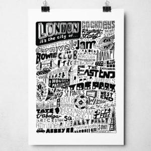 London Original Signed Typography Artwork