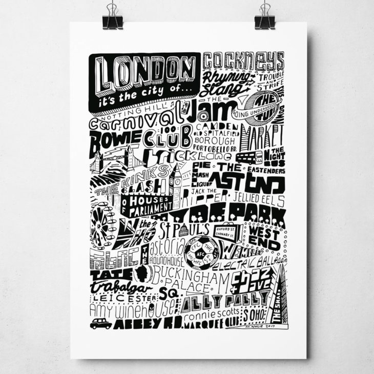 London Original Signed Typography Artwork