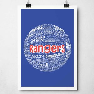 Glasgow Rangers football print from Sketchbook Design. Hand-drawn typography print that depicts the history of Rangers football club