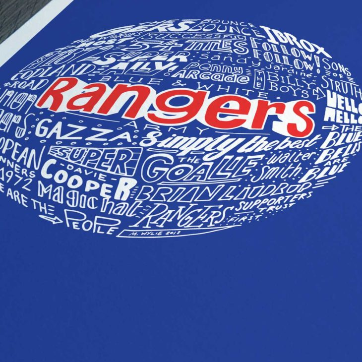 Rangers football print from Sketchbook Design. Hand-drawn typography print that depicts the history of Rangers football club