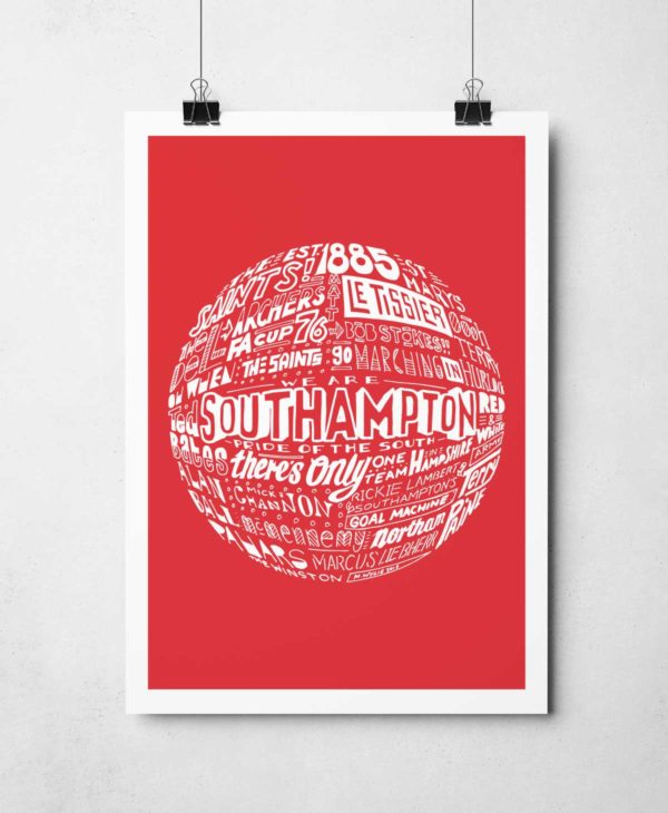 Southampton football print Hand-drawn typography artwork from Sketchbook Design