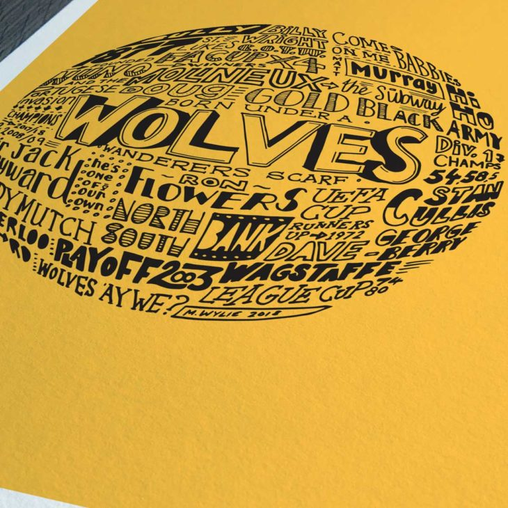 Wolves football print from Sketchbook Design. Hand-drawn typography print that depicts the history of Wolverhampton Wanderers football club