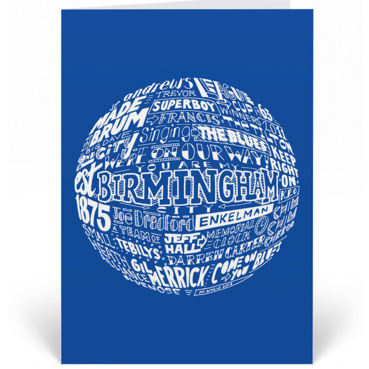Birmingham City birthday card features a hand-drawn design that depicts the history of the club.