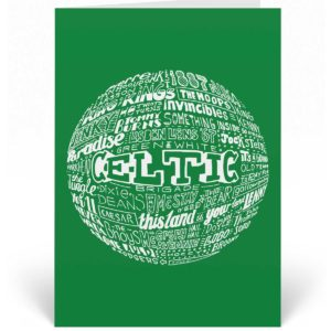 Celtic birthday card features a hand-drawn design that depicts the history of the football club.