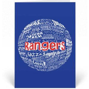 Glasgow Rangers birthday card features a hand-drawn design that depicts the history of the football club.