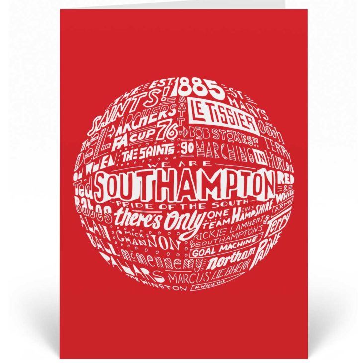 Southampton birthday card features a hand-drawn design that depicts the history of the football club.
