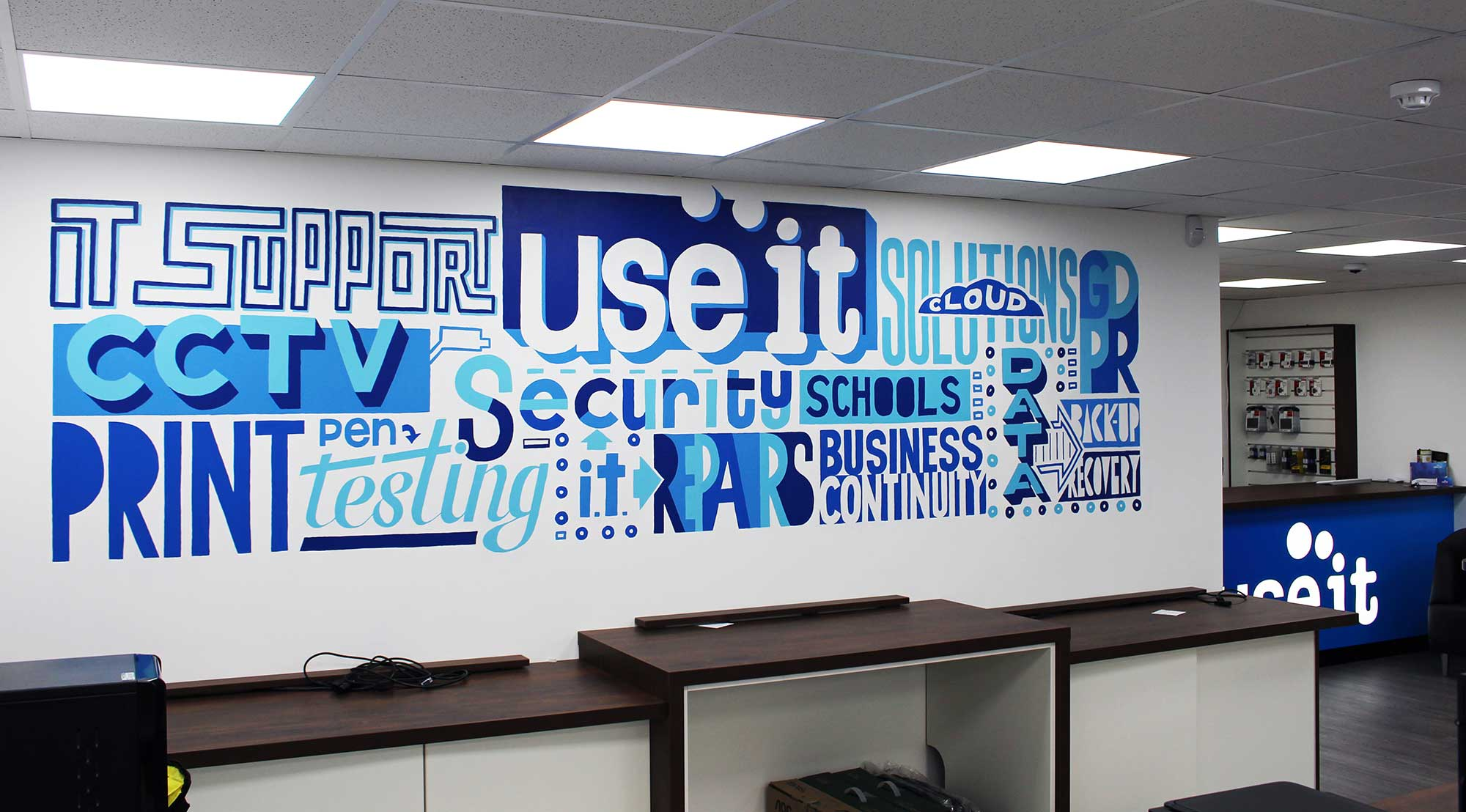 Use IT Bespoke Wall Mural Commission Hand-painted wall murals by Sketchbook Design