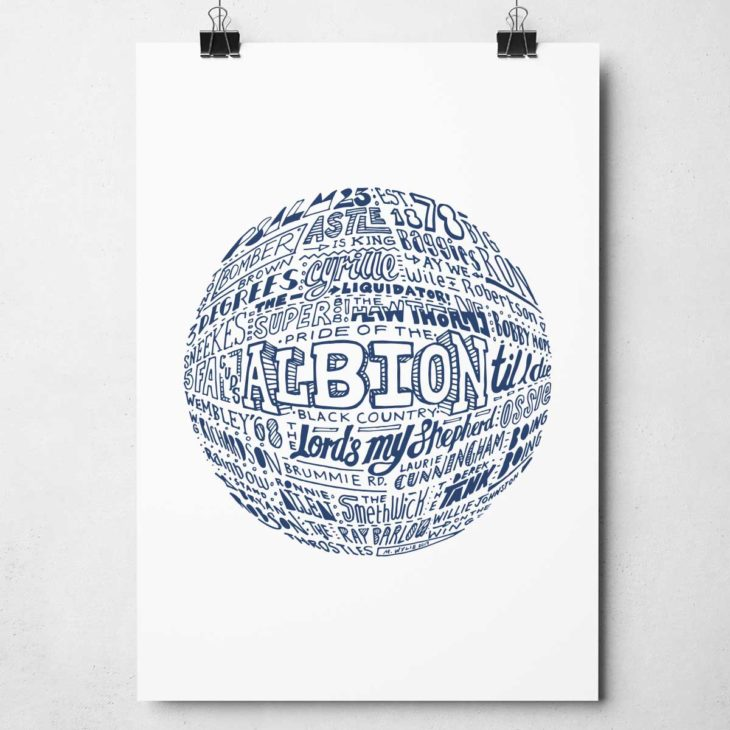 West Brom football print Hand drawn football typography print from Sketchbook Design