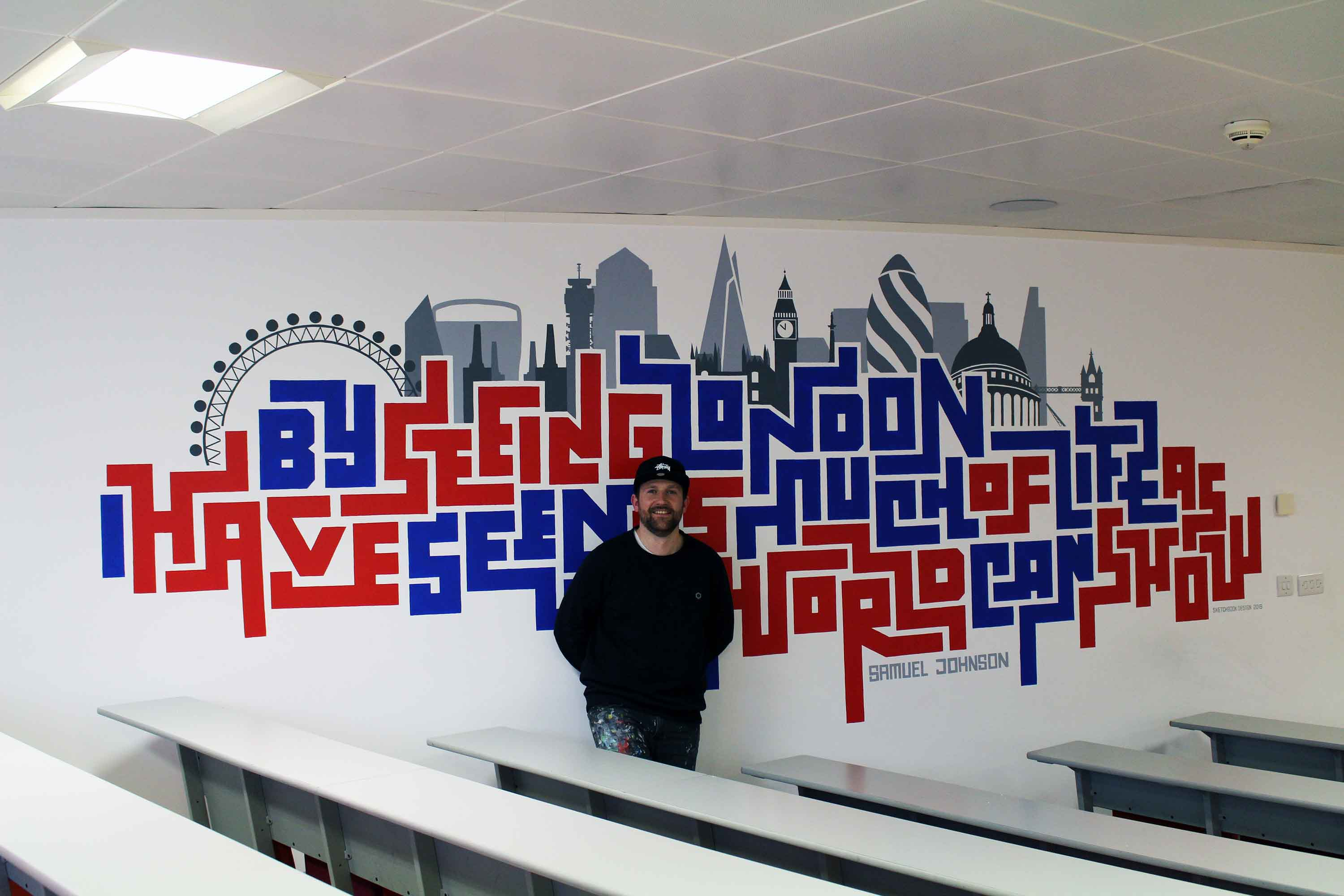 Hand Painted Wall Mural at the University of Sunderland in London