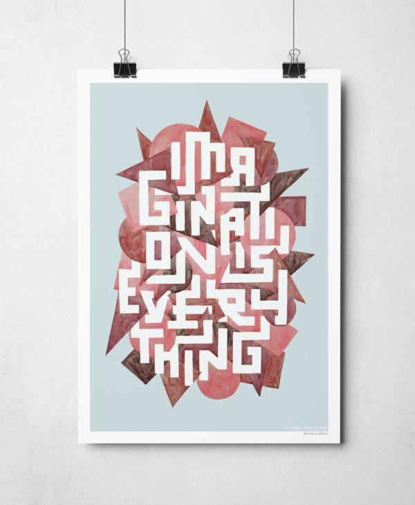 Imagination is Everything Print from Sketchbook Design. Typography Creative Quote Print