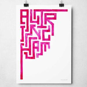 Minimal Altrincham Print Hand-painted Typography Print by Sketchbook Design