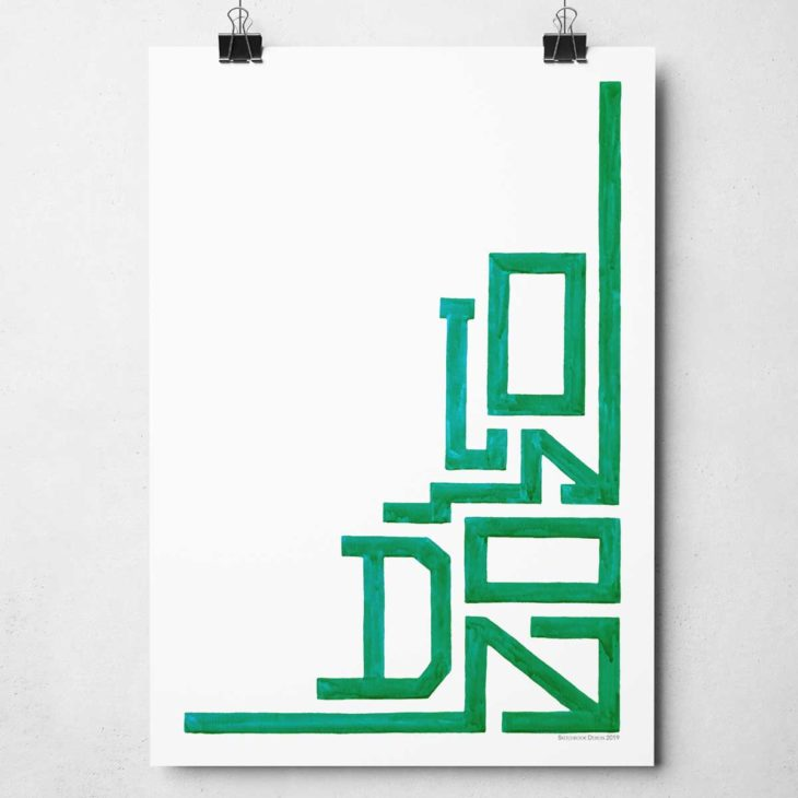 Minimal London Print originally hand-painted in watercolours by Sketchbook design